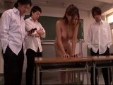 Blackmailed Milf Teacher Forced To Ride Dildo In the Classroom By her Students