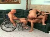 Grandpa In Wheelchair Abused With Friends Blonde Caregiver Woman