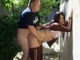 Chubby Wife Cheating Husband In Backyard With Neighbor
