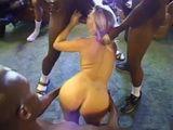Blonde In An Hard Interracial Gang Bang Destroyed