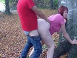 Big Ass Redhead Having Quickie In The Forest