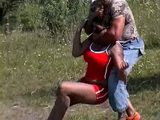Ebony Jogging Milf Attacked and  Fucked In the Field