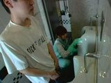 Toilet Cleaner Girl Blows and Gets Sprayed By Stranger