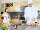 Horny Old Chef Gets Wild When He Instead Of Turkey Imagine His Sexy Young Stepdaughter