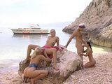 3 Bitch Fucked On The Beach By Lucky Sailor