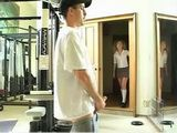 Pigtailed Teen Interrupt Gym Coach In Very Bad Moment