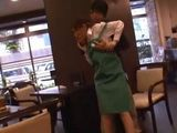 Japanese Waitress Gets Violated By One Of The Guests At Her Workplace