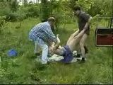 Group Of Local Punks Attacked Blonde Mature In The Forest