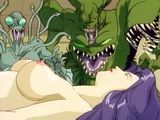Busty hentai  monsters fucking