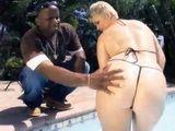 Chubby Blonde In Tiny Bikini Analized By Black Cock