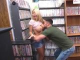 Busty Blonde Gets Fucked In DVD Shop