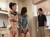 Japanese Boy Catches Younger Brother Fucking Their Milf Step Mother In The Kitchen