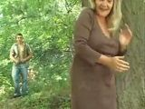 Blonde Mature Granny Made Mistake By Thinking She Is All Alone In the Woods